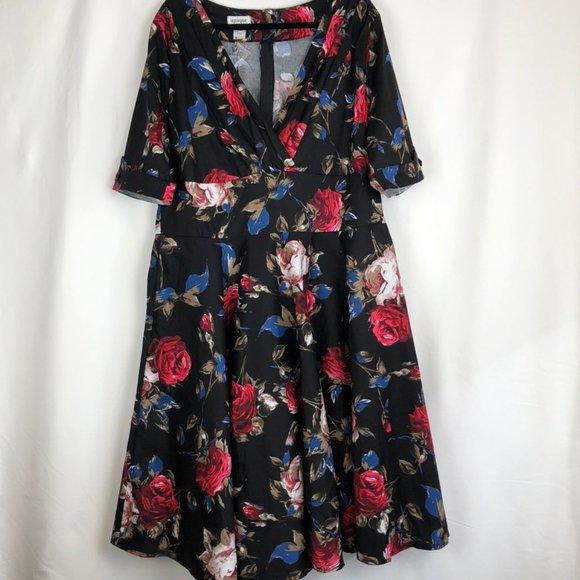 Unique Vintage Plus 1950s Floral Delores Dress
